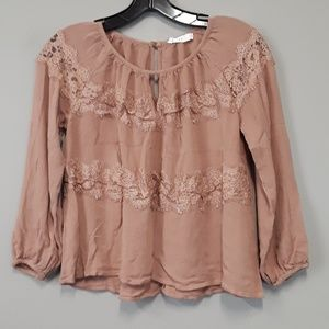 Lush Dusty Rose Lace Puff Sleeve Top Size XS